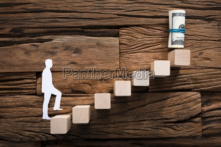 paper, businessman, climbing, ladder, leading, towards - 22696807