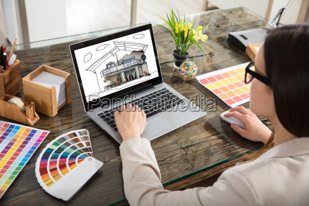 woman, working, with, color, samples, for - 22696751