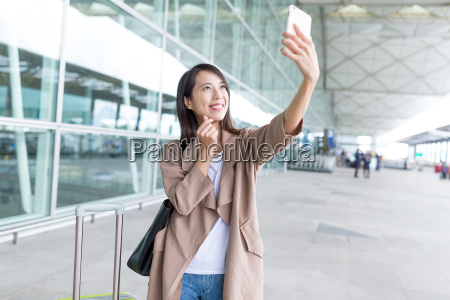 young asian woman go travel and