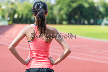 back view of sport woman in