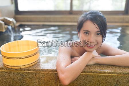 japanese, woman, enjoy, japanese, hot, spring - 22700491