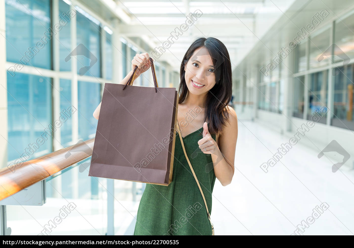 woman, holding, shopping, bag, and, showing - 22700535