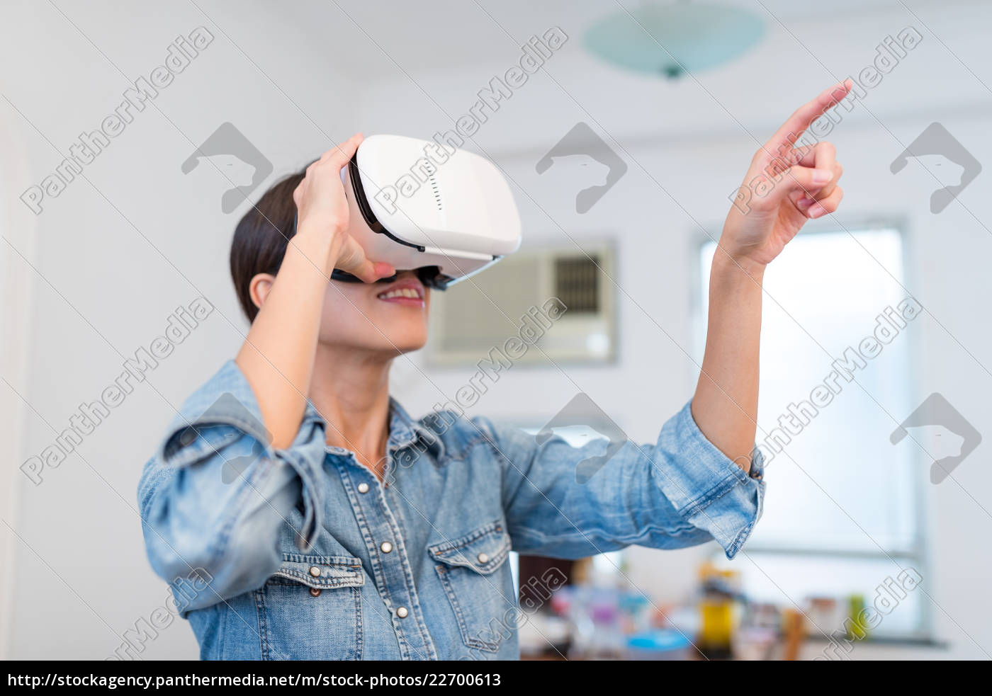 woman, looking, with, virtual, reality, and - 22700613