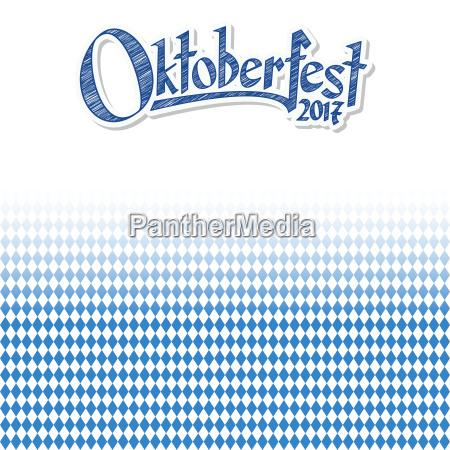 oktoberfest background with blue white checkered