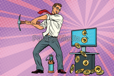 businessman is mining bitcoins from your