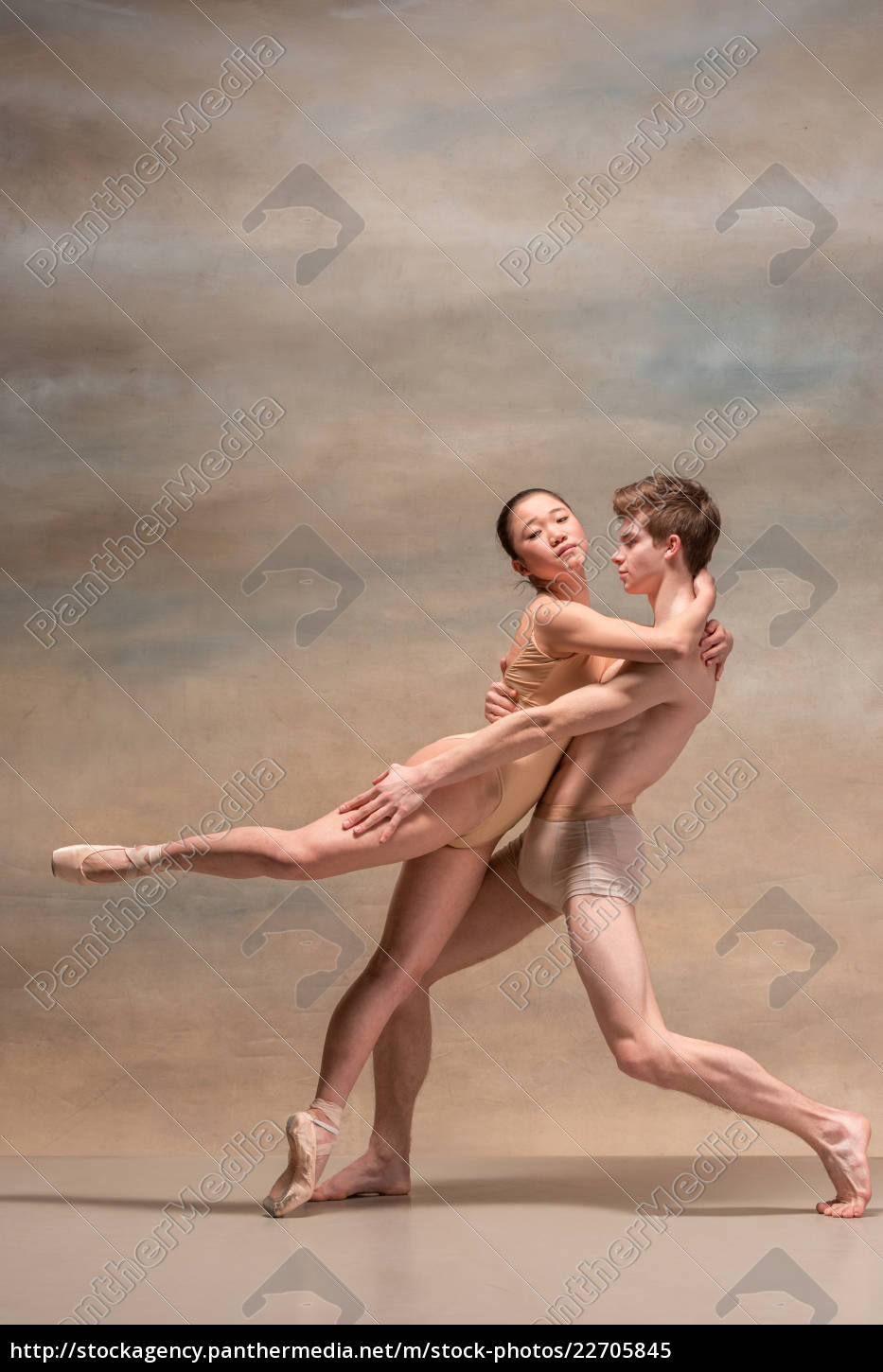 couple, of, ballet, dancers, posing, over - 22705845