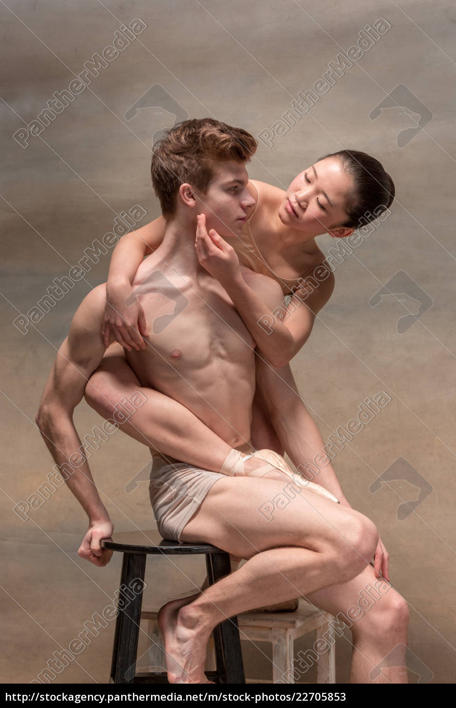 couple, of, ballet, dancers, posing, over - 22705853