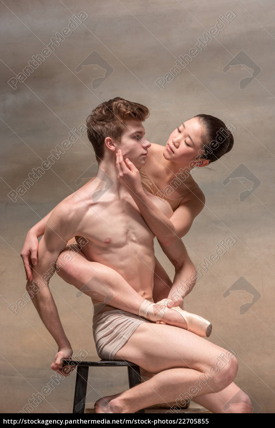 couple, of, ballet, dancers, posing, over - 22705855
