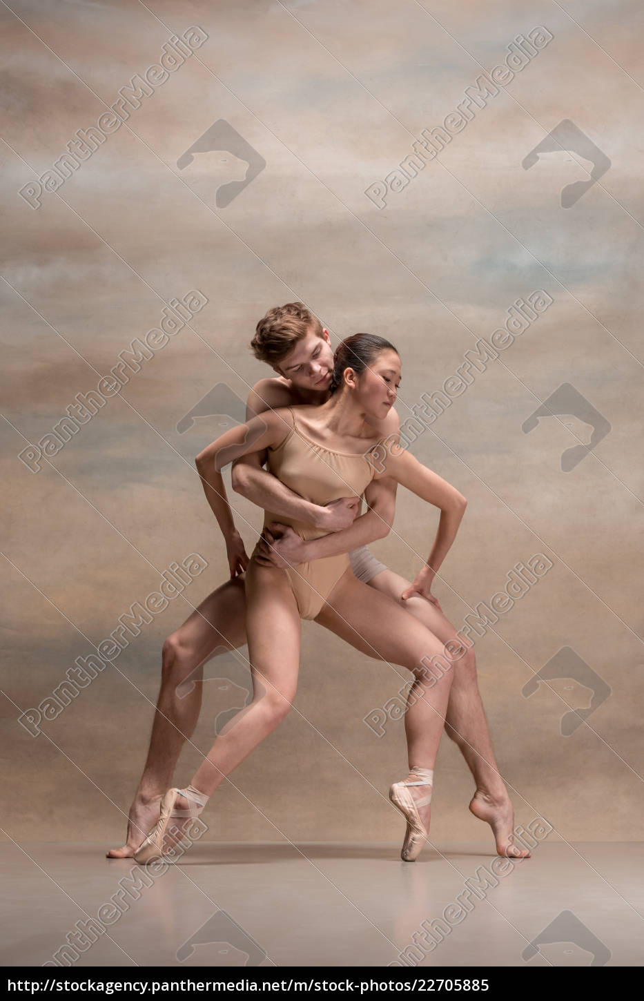 couple, of, ballet, dancers, posing, over - 22705885