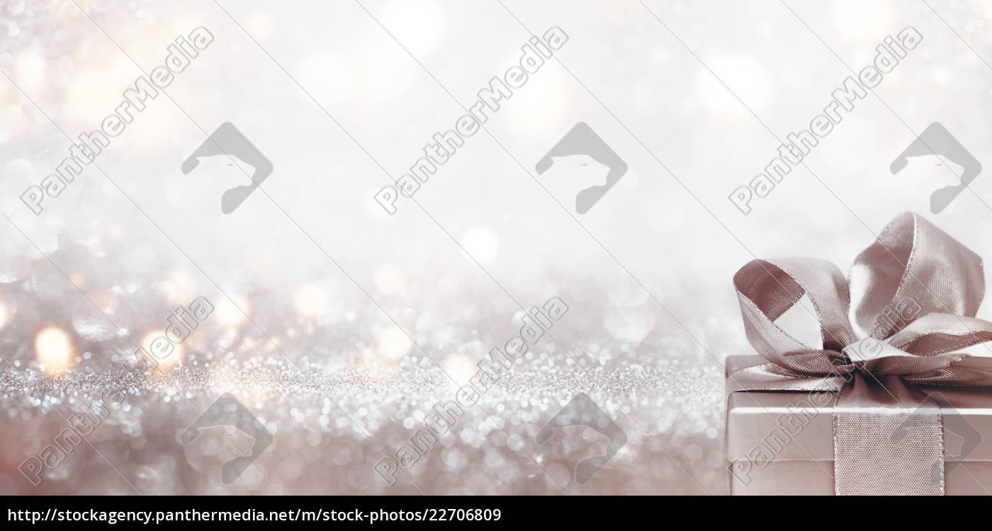 gift, on, abstract, silver, glitter, bokeh - 22706809