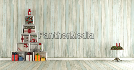 old, wooden, room, with, christmas, decorations - 22709991