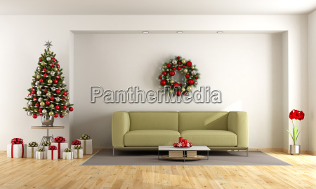 white, living, room, with, christmas, tree - 22709997