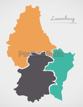 luxembourg map with states and modern