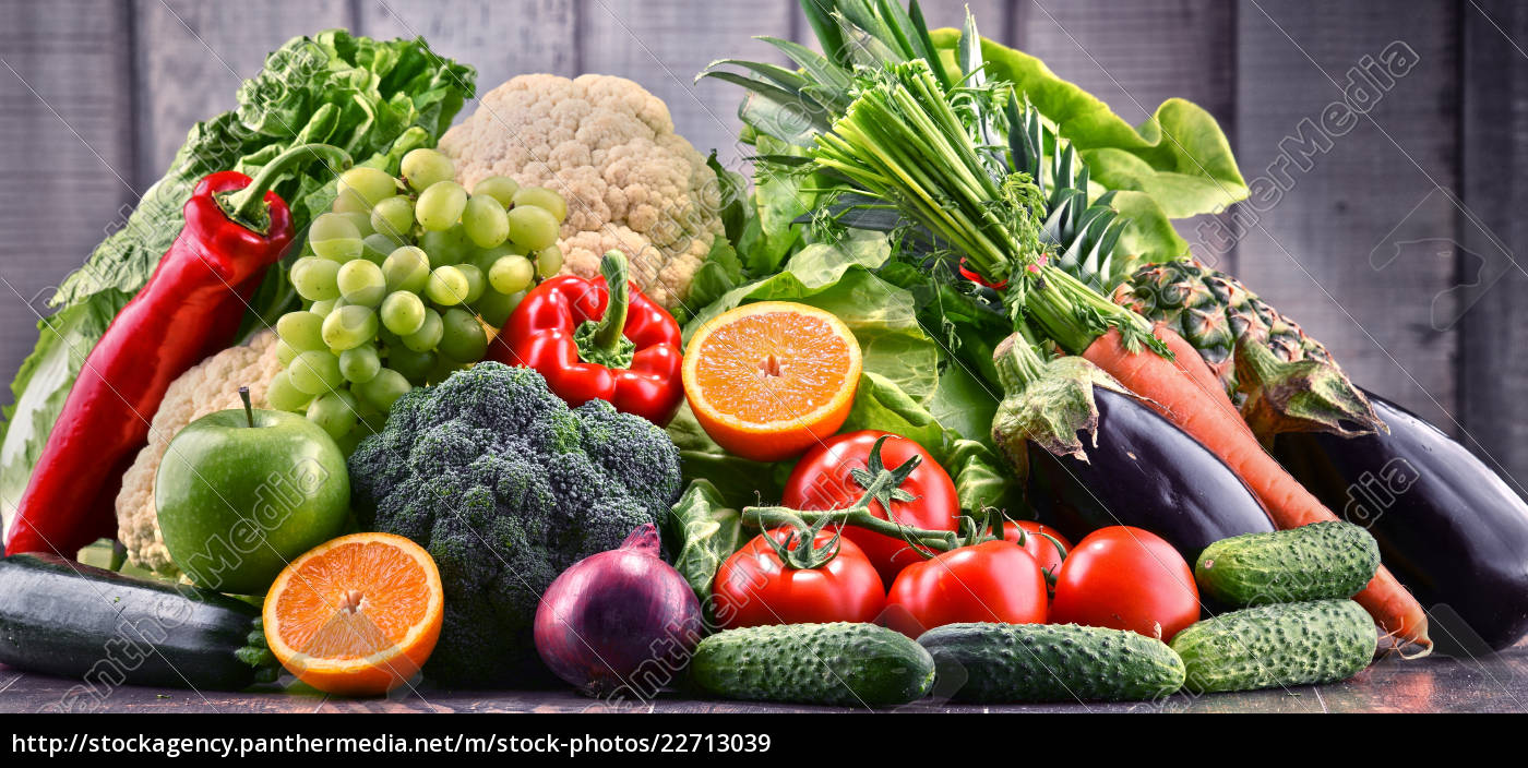 assorted, raw, organic, vegetables, and, fruits - 22713039
