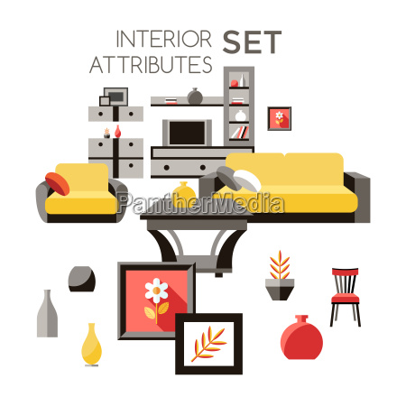 digital vector yellow furniture icons with