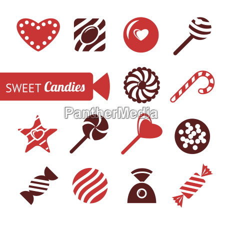 digital vector red brown sweet candies