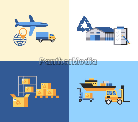 digital vector yellow blue warehouse icons