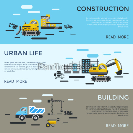 digital vector blue yellow construction building