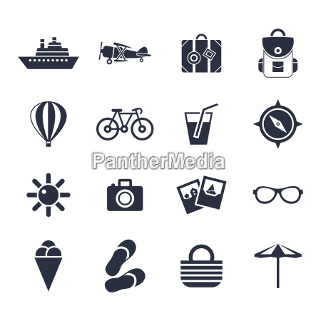 digital vector black beach travel icons