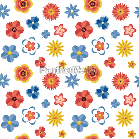 digital vector blue red flowers set