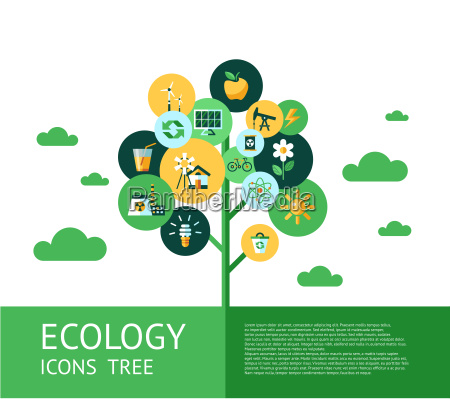 digital vector green ecology icons tree