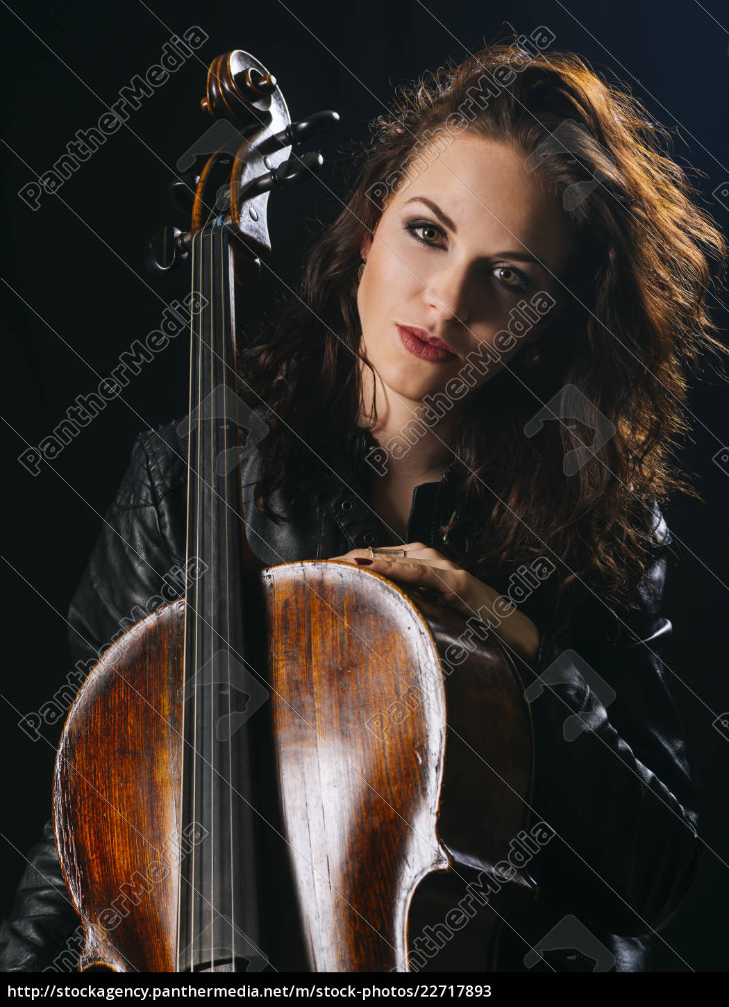 attractive, cello, player, and, her, instrument - 22717893