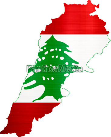 flag map lebanon illustration