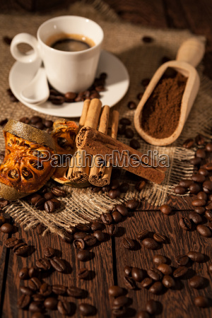 cup of coffee with cinnamon and