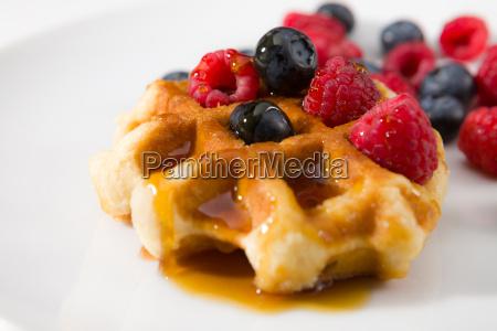 close up of waffles with fresh