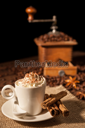 coffee cup with whipped cream and