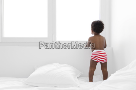 rear view of young boy with