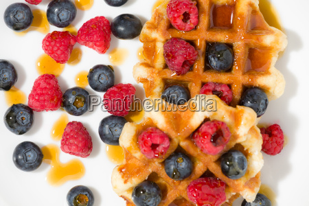 close-up, of, waffles, with, berries, and - 22719765