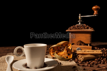 coffee, cup, , dried, orange, fruit, , cinnamon - 22719785
