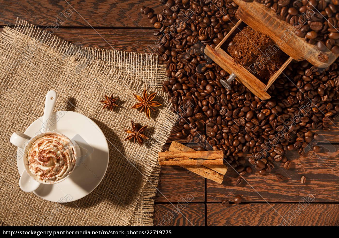 coffee, cup, , star, anise, , cinnamon, sticks - 22719775