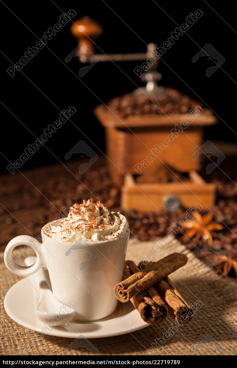 coffee, cup, with, whipped, cream, and - 22719789