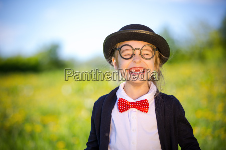 funny, happy, little, girl, in, bow - 22719055