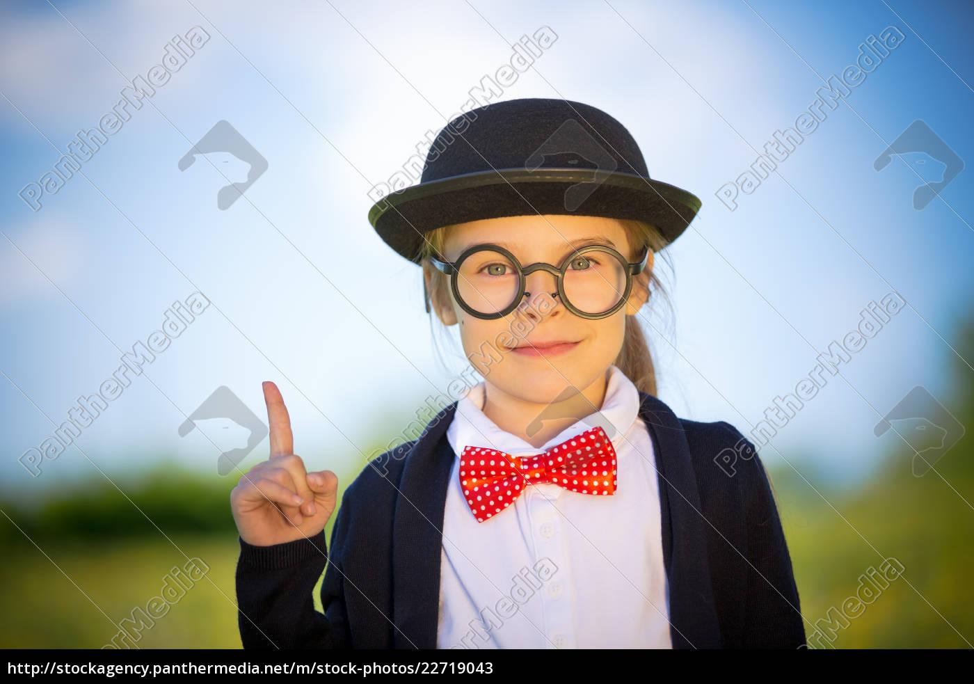 funny, little, girl, in, glasses, , bow - 22719043
