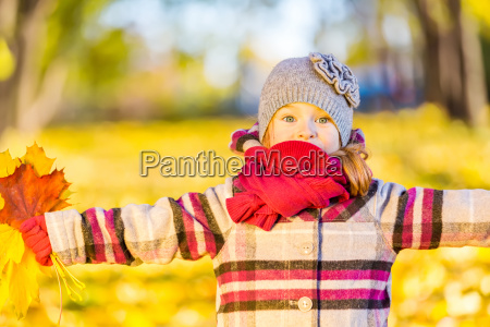 happy, little, girl, with, autumn, leaves - 22719033