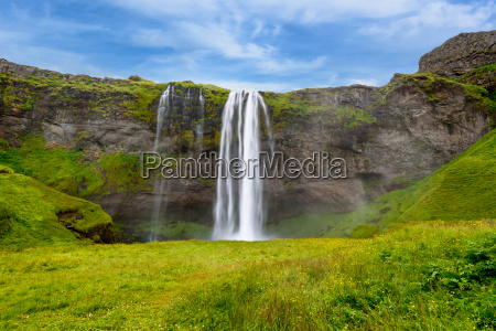 waterfall seljalandsfoss in summer iceland