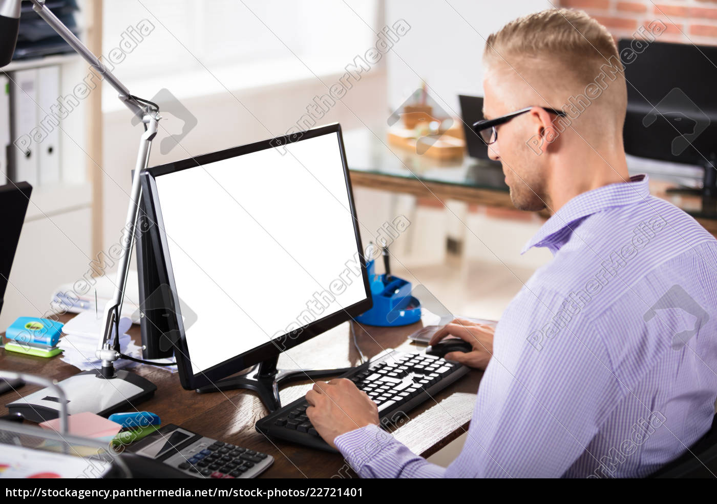 businessman, using, blank, computer - 22721401
