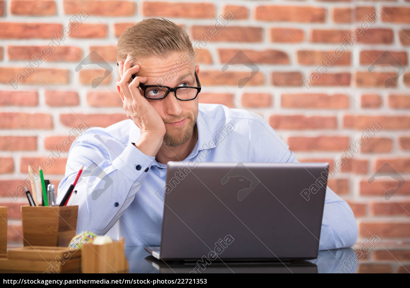 contemplated, businessman, in, office - 22721353