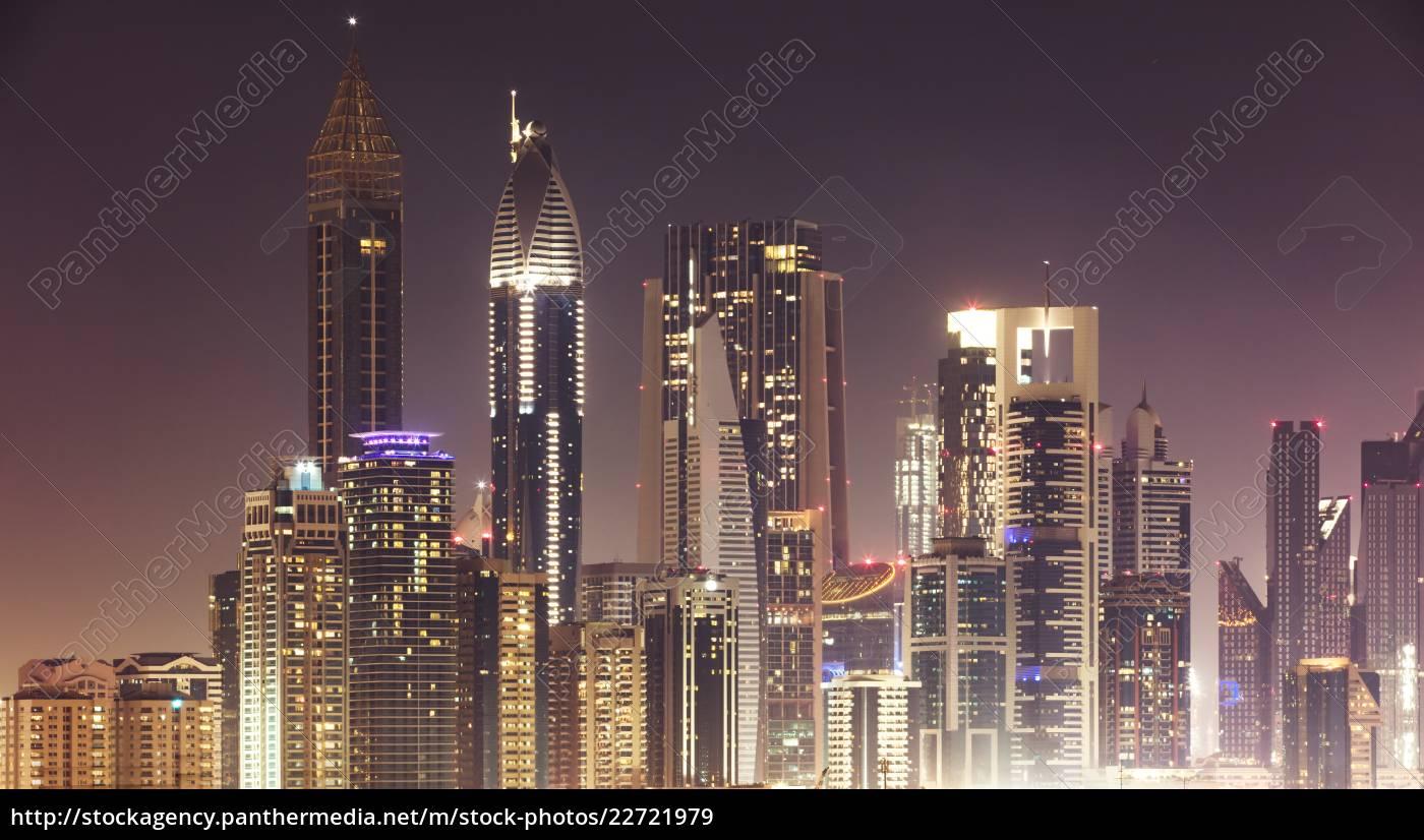 dubai, skyline, at, night - 22721979