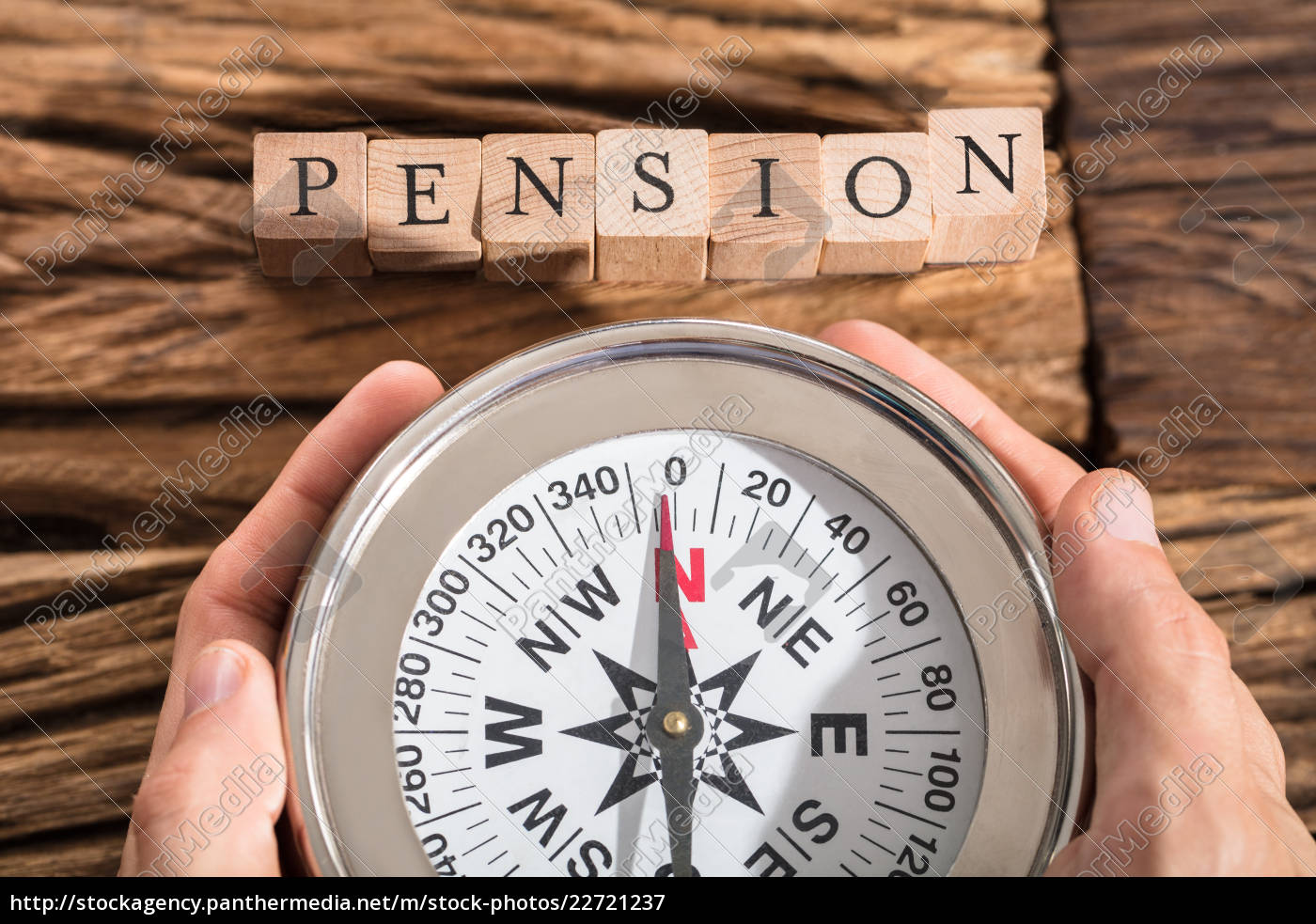 hand, holding, compass, on, pension, block - 22721237
