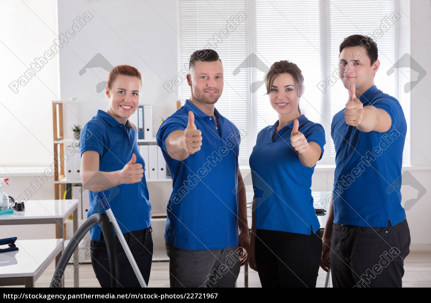 janitors, showing, thumb, up, sign, in - 22721967