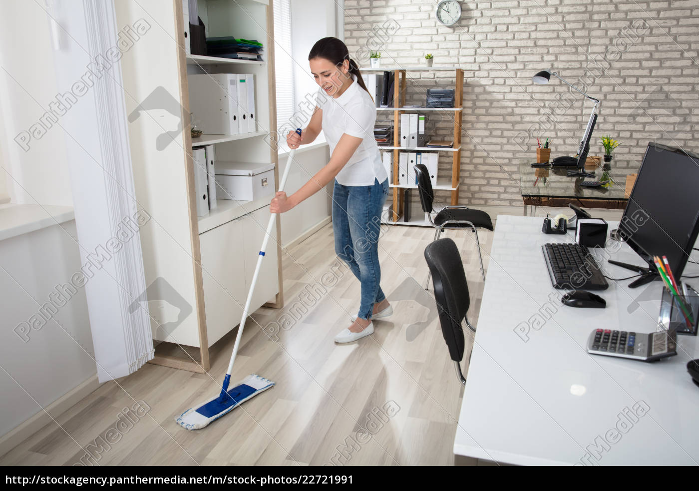 young, woman, cleaning, the, floor - 22721991