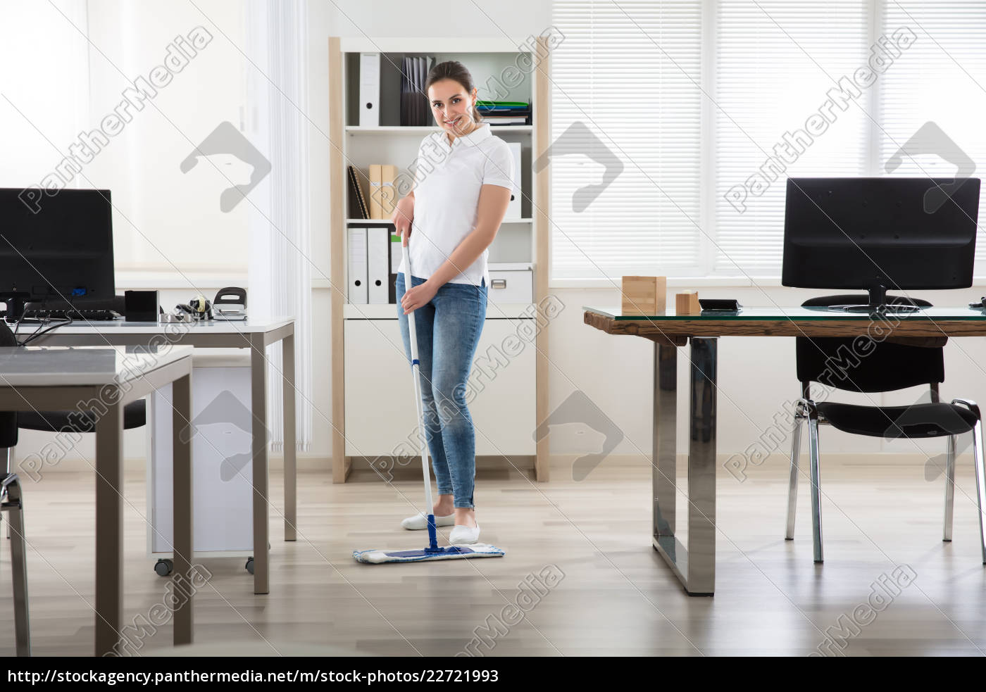 young, woman, cleaning, the, floor - 22721993