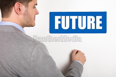 businessman knocking door with future text