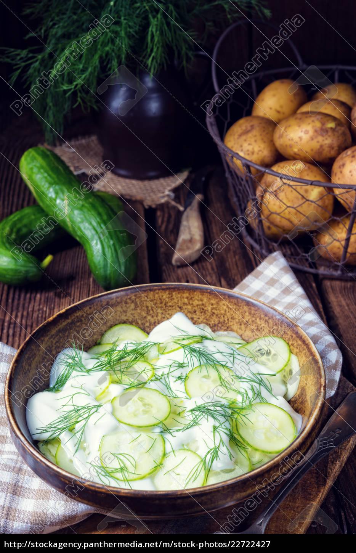 fresh, cucumber, salad, with, yogurt, and - 22722427