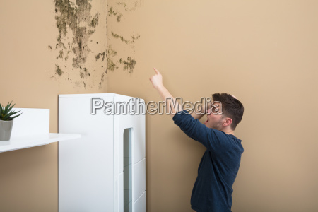 shocked, man, looking, at, mold, on - 22722933
