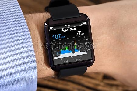person hand wearing smart watch
